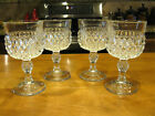 Vintage Indiana Diamond Point Crystal Wine Goblets 6 oz. Set of 4