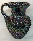 Fenton Art Glass Amethyst Carnival 5 1 2 Hobnail Pitcher Early 1970s