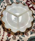 Beautiful Vintage Anchor Hocking Divided Dish White Milk Glass with Gold Trim