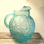 Vintage Anchor Hocking Turquoise Aqua Glass Ball Milano Lido Pitcher #803
