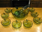 Vintage Hazel Atlas Orchard Green Apple Salad Bowl Set 11 Pieces 1960s