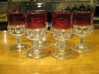 Indiana Glass Kings Crown Goblets Crystal Clear w/ Ruby Red Flash Band Set of 6