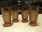 Vintage Indiana Glass Colony Whitehall (4) Amber Footed Tumblers Flared Rims