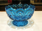 LE Smith Moon and Stars Colonial Blue Pedestal Compote Scalloped Rim