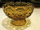 L.E. Smith Moon and Stars Amber Pedestal Compote Nice Condition