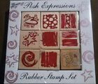 Posh Impressions Expressions Rubber Stamp Set Freehand Wood Rubber NIP New