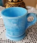 Small Vintage Blue Milk Glass Cup With Dog And Cat EVC