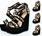 Women Leopard Print Summer Supper High Heel Platform Shoes Vintage Nightclub Hot