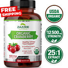 USDA Organic Cranberry Extract 12,500 mg Strength 100 Veggie Caps 25:1 Extract