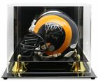BCW Deluxe Acrylic Mini Helmet Display Case With Black Base Gold Riser Mirrored