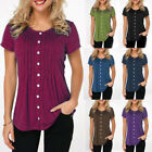 Womens Short Sleeve Button Down Shirts Tunic Tops Oversized Solid T Shirt Blouse