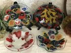 4 Peggy Karr Lot Signed Fused Art Glass Bowl 2 Pansies 1 Peppers 1 Hearts 8 3 8