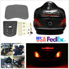 Black Motorcycle Trunk Box W/Tail Light Brake Red Turn Light+Backrest Base+ Keys