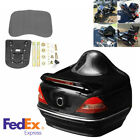 Universal 12V ABS Plastic Motorcycle Trunk Box Kit w/Taillight Stop Turn Light