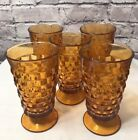 INDIANA GLASS WHITEHALL COLONY Set of 5 Vintage Amber Footed Glasses 14 Oz
