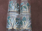 Set of 4 Vtg. Culver Cala Lilly Glasses Low Ball/Old Fashioned Glasses Teal/Gold