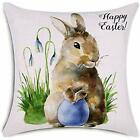 Happy Easter Throw Pillow Covers Watercolor Bunny And Egg Decorative Cushion 18