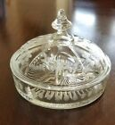 Vintage Clear Glass Etched Floral 3 Section Candy Dish with Lid