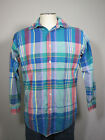 Britches Great Outdoors  Blue Red Plaid Button Down Cotton Casual Shirt sz M