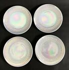 4 Federal Moonglow Side Lunch Salad Plate White Opalescent Iridescent Pearl