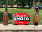 Vintage Original Porcelain Gas Oil Advertising Sign AMOCO American Gas