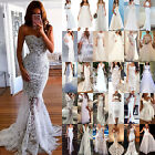 Womens Lace White Bridesmaid Wedding Formal Prom Evening Party Ball Gown Dresses