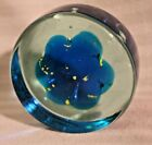 Large Mdina Art Glass Paperweight Blue  Yellow Jellyfish Sea Urchin Flower