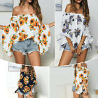 US Women Off Shoulder Beach Loose Sunflower Floral Summer T Shirt Tops Blouse