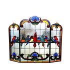 Fireplace Screen Group of Birds Tiffany Style Stained Glass 32 H x 40 Long