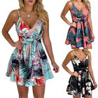 Women Hawaii Floral Strap Slim A Line Mini Dress Tie Belt Holiday Beach Sundress