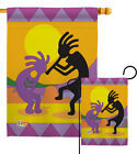 Kokopelli Southwest Hopi Fetitllty Deity Feathers Native Garden House Yard Flag