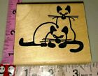 2 outline Siamese cats I love rubber stamps216woodrubber stamp