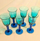 Art Glass Studio AQUA  COBALT BLUE WINE GOBLETS Glasses SET OF 6 HEAVY