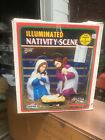 Vintage Empire 3 Piece Illuminated Blow Mold Nativity Scene Set Original Box