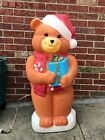 Vtg Empire Christmas Teddy Bear With Gifts Lighted Blow Mold 35 Tall Nice