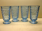 Vintage Indiana Glass Colony Whitehall (4) Blue Footed Tumblers Flared Rims 6