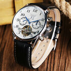 JARAGAR Tourbillon Date Day Men's Automatic Mechanical Watches Leather Band