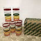 Set/6 Vintage Anchor Hocking Fiesta Stripe Drinking Glasses in Original BOX