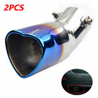 2PC Car 63mm Inlet Heart shaped Baked Blue Tip Tail Exhaust Pipe Muffler Curved