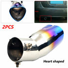 2PCS Baked Blue 63mm Inlet Heart shaped Tip Tail Exhaust Pipe Muffler For Car