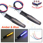 2x Universal LED Turn Signal Indicator Lights Amber Blue Street Sport Dirt Bikes
