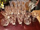 Vintage libby gold leaf glasses, shot glasses tumblers, wine and martini. 28pcs!