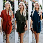 Women's Lace-Up Loose Blouse Casual OL office work Business Summer Shirt Dress