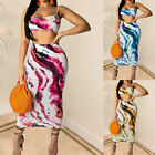 Women 2 Piece Bodycon Two Piece Crop Top and Skirt Set Bandage Dress Party