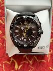 New Seiko Prospex Black Leather Kinetic GMT Date Men 100M Watch 45mm SUN057 $450