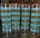 4 LIBBEY Phoenician MCM skyball Tom Collins glasses BLUE Green GOLD 7