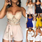 US Summer Womens Casual Lace Padded Romper Shorts Playsuit V Neck Slim Jumpsuit