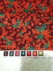 Christmas Holiday Fabric Holly Mistletoe Motif Green Red Gold 44 x 3 4 YD