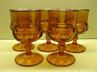 Indiana Glass Kings Crown Dark Amber Wine Goblets 4 oz. 4 3/8