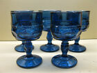 Indiana Glass Kings Crown Imperial Blue Goblets 3 oz. 4 1/8